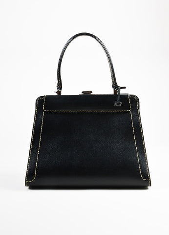 "Delvaux Black, Brown, and Cream Alligator Leather Changeable Panel ""Illusion"" Bag Frontview"
