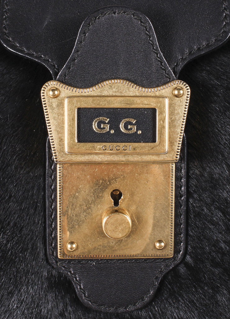 "Gucci Black Pony Hair Leather Tassel ""GG"" Satchel Bag Detail"