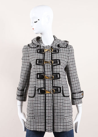 Gucci Black and White Houndstooth Hooded Fireman Coat Front