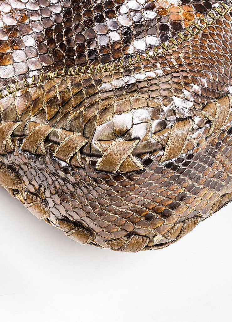 "Brown Gucci Python Leather ""New Jackie"" Hobo Shoulder Bag Detail"