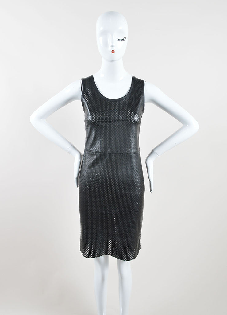 Jean Paul Gaultier Black Lamb Leather Perforated Sleeveless Sheath Dress Frontview