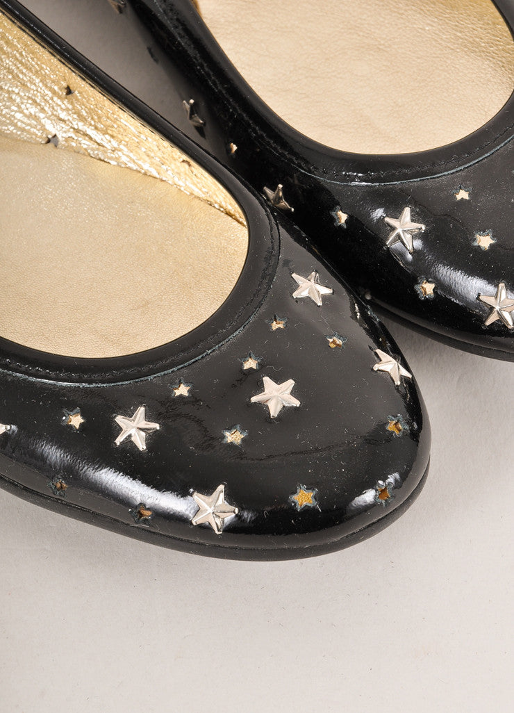 Jimmy Choo Black and Silver Toned Star Stud and Cut Out Patent Leather Flats Detail
