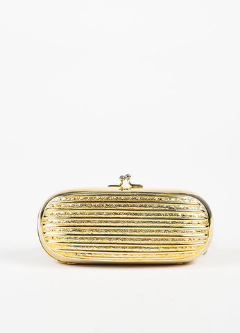 Judith Leiber Gold Toned Metal Embossed Structured Clutch Bag frontview