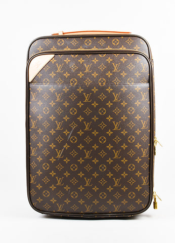"Louis Vuitton Brown Coated Canvas Monogram ""Pegase Legere 45"" Rolling Suitcase Frontview"