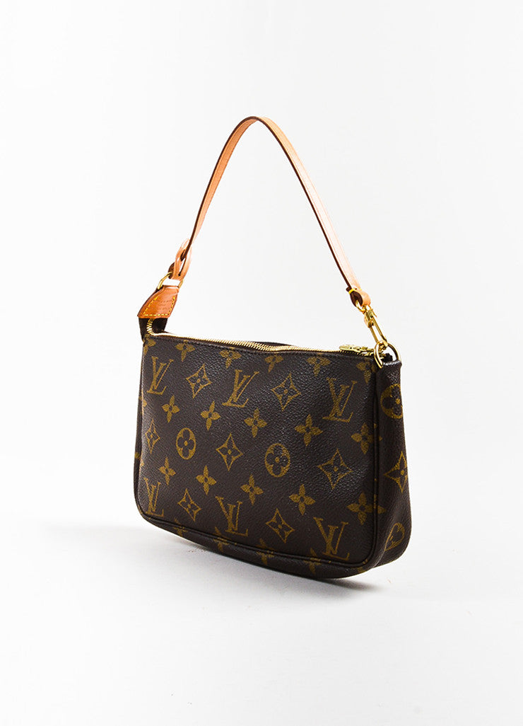 "Louis Vuitton Brown and Tan Coated Canvas Monogram ""Pochette Accessoires"" Bag Sideview"
