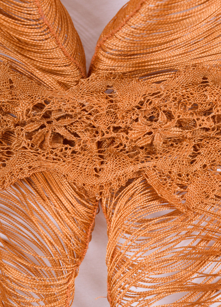 Marcia Ganem New With Tags Burnt Orange Cord Lace Vest Detail