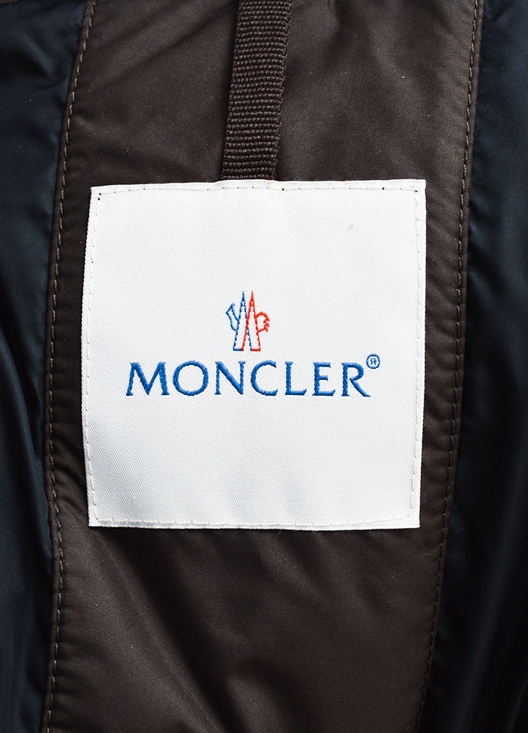 Moncler Chocolate Brown Nylon Down Quilted Puffer Coat Brand