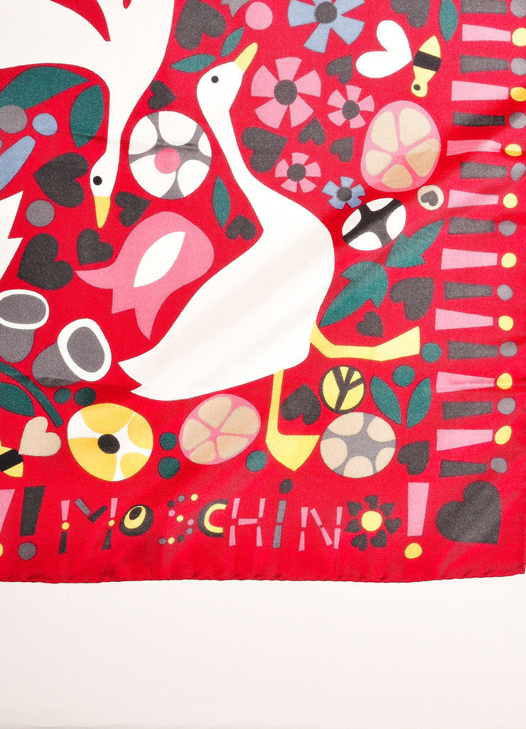 Moschino Pink, White, and Grey Flower and Duck Print Scarf Brand