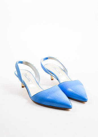 "Oscar de la Renta Blue Coated Suede ""Samie"" Slingback Pumps Frontview"