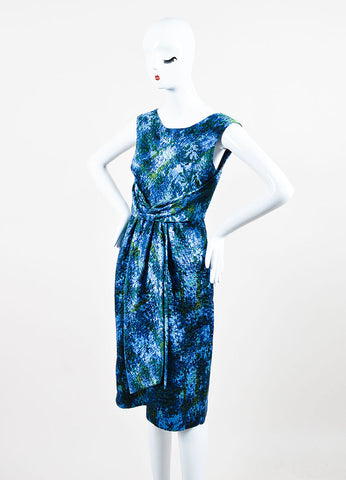 Peter Som Blue and Green Printed Quilted Sleeveless Dress Sideview