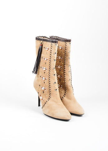 "Beige Tamara Mellon Suede Shell ""Bohemia"" Heeled Boots Front"