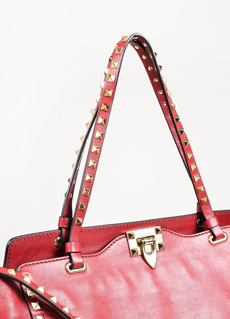 "Valentino Red Calfskin Leather ""Medium Rockstud Tote"" Bag Detail 4"