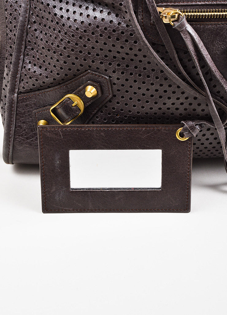 "Balenciaga Dark Grey Distressed Leather ""Classic Perforated Work"" Bag Detail 5"