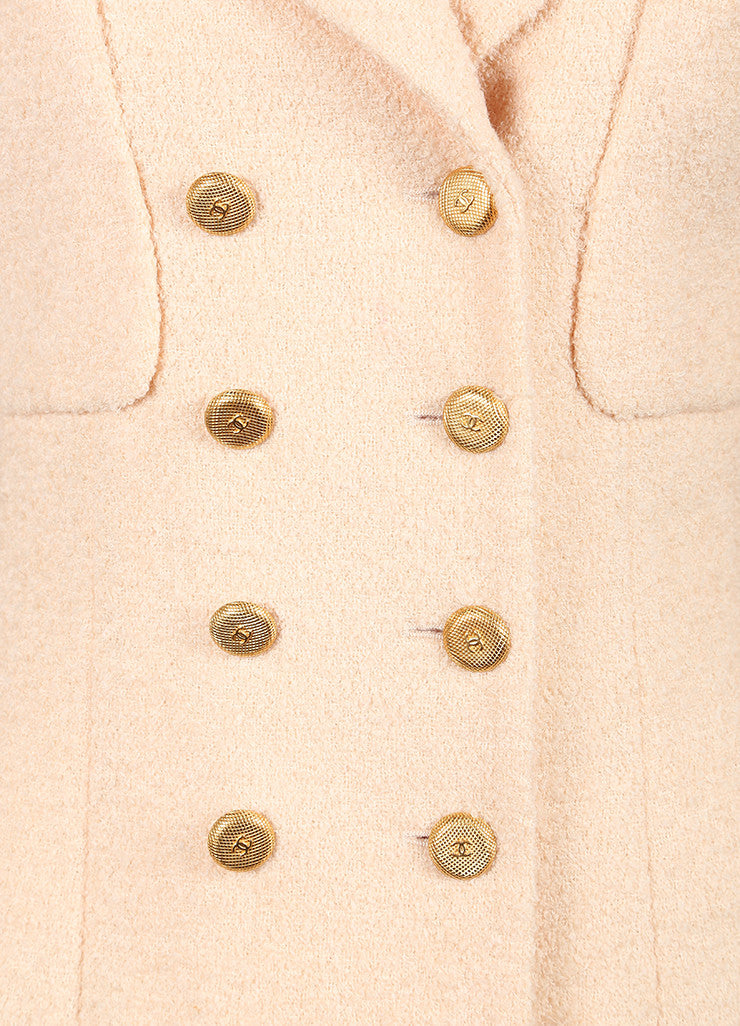 Chanel Blush Pink Wool Boucle Double Breasted Long Sleeve Pea Coat Detail