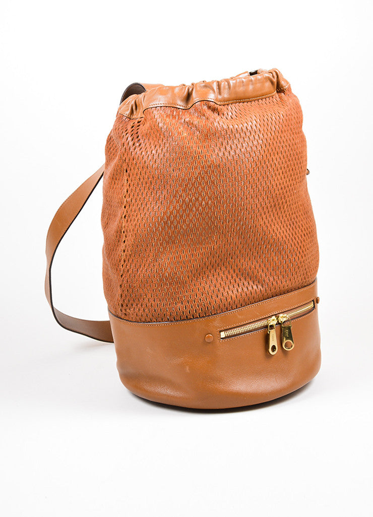 "Brown Chloe Perforated Leather ""Charlie"" Drawstring Sling Bag Sideview"
