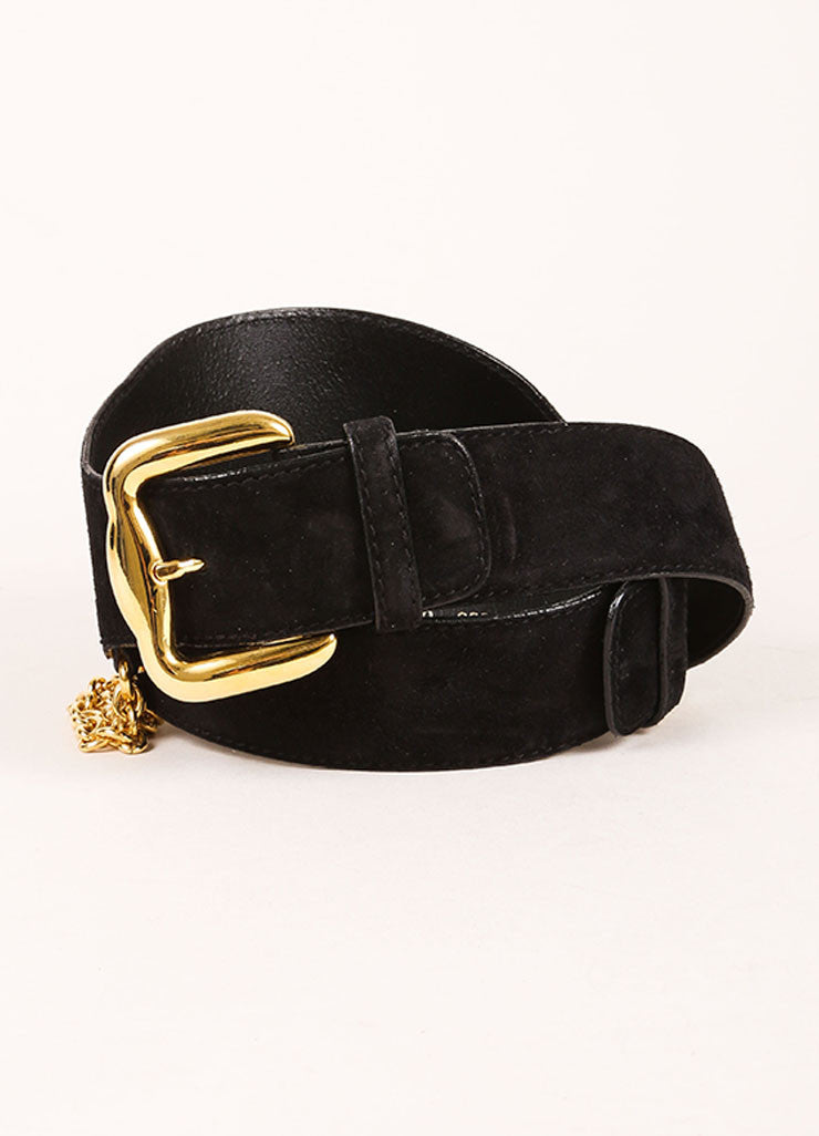 Escada Black and Gold Toned Suede Chain Link Flower Double Buckle Wide Belt Frontview