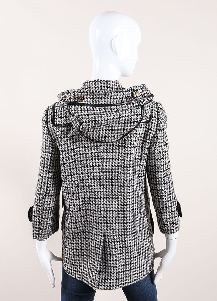 Gucci Black and White Houndstooth Hooded Fireman Coat Back