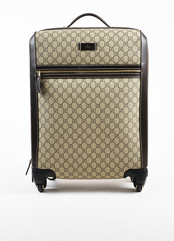"Gucci Brown and Tan Coated Canvas ""GG Supreme Four Wheel Carry On"" Suitcase Frontview"