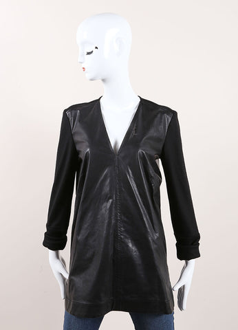 Helmut Lang Black Leather Wool Sleeve V-Neck Top Frontview