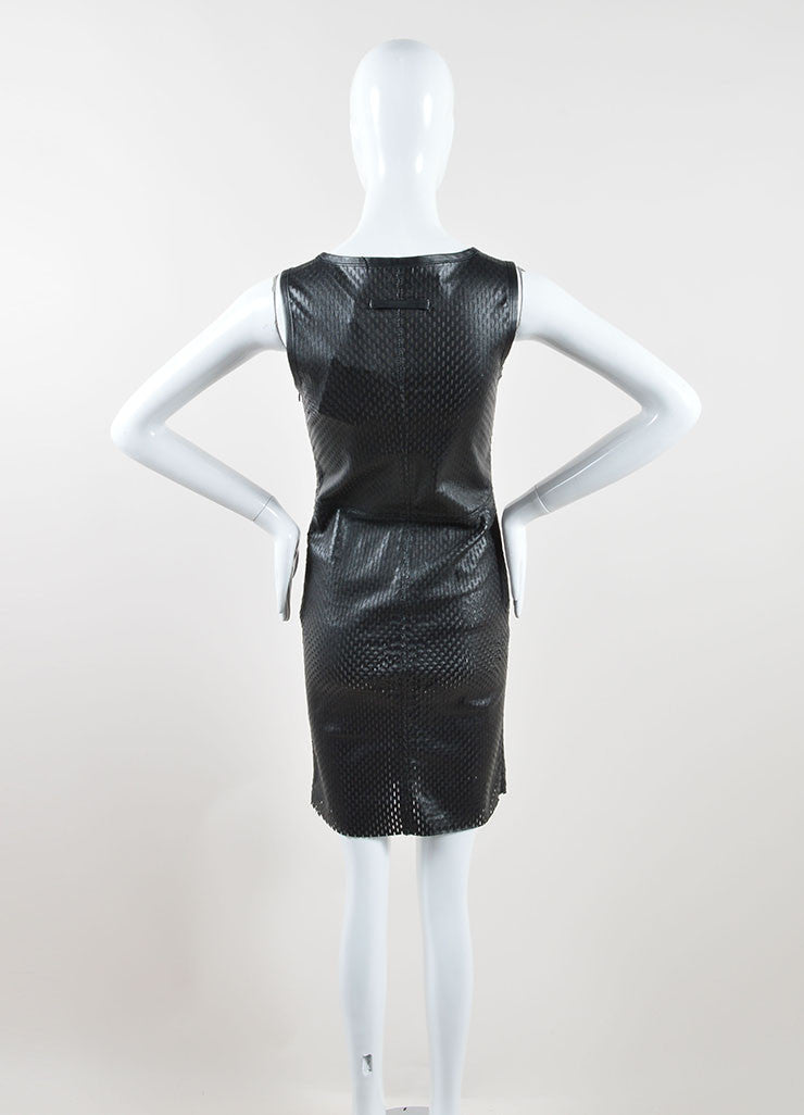 Jean Paul Gaultier Black Lamb Leather Perforated Sleeveless Sheath Dress Backview