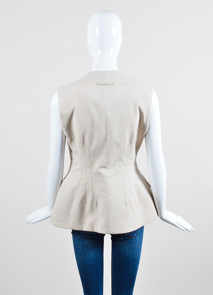 Sand Beige Jean Paul Gautier Linen and Wool Blend Double Breasted Vest Backview