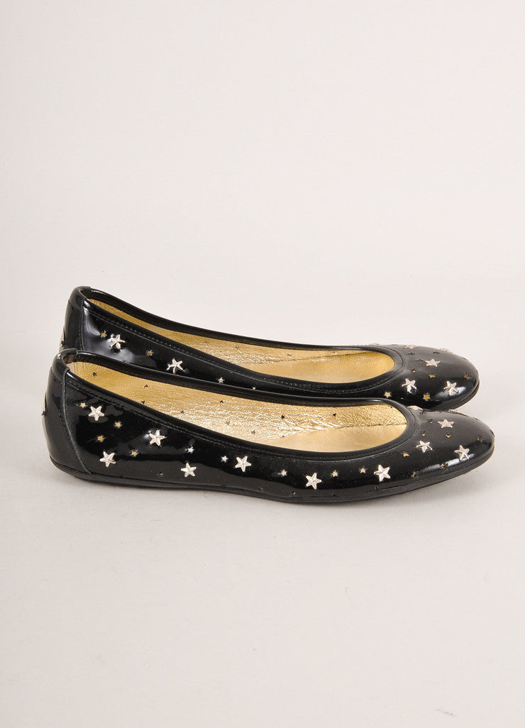 Jimmy Choo Black and Silver Toned Star Stud and Cut Out Patent Leather Flats Sideview