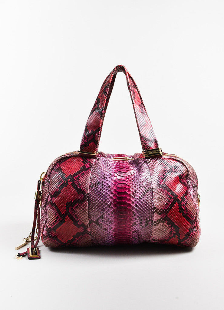 Pink Red Jimmy Choo Python Snakeskin Bowler Bag Purse Front
