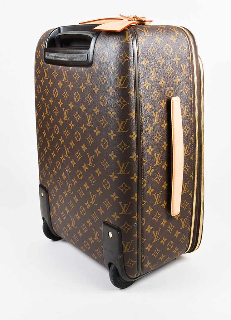 "Louis Vuitton Brown Coated Canvas Monogram ""Pegase Legere 45"" Rolling Suitcase Sideview"