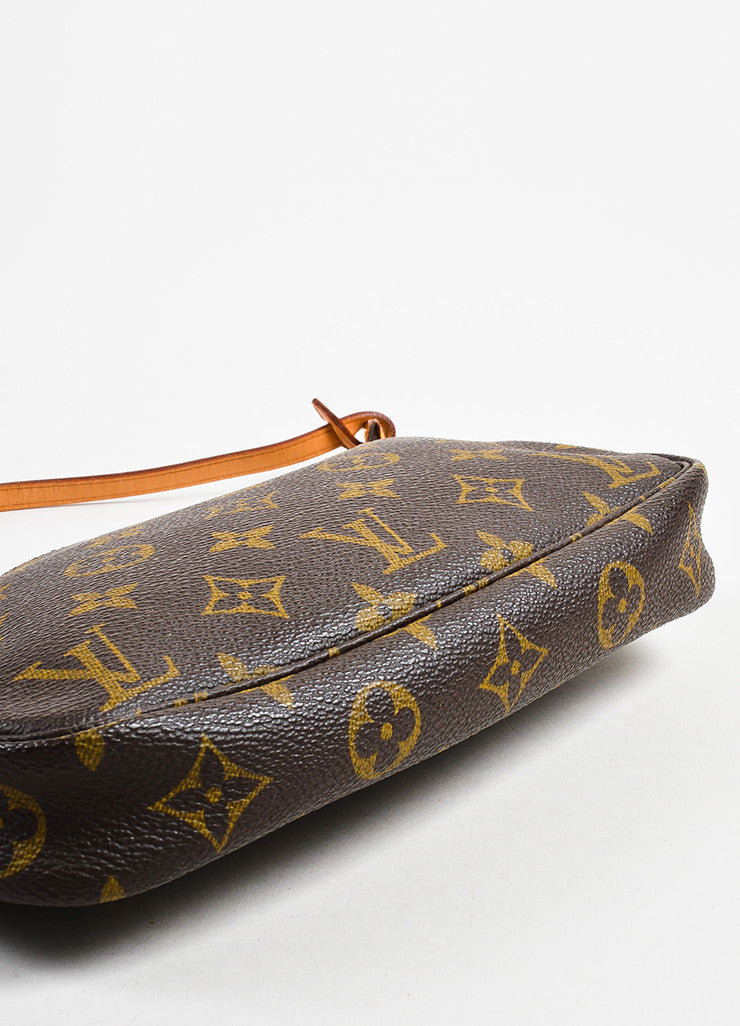"Louis Vuitton Brown and Tan Coated Canvas Monogram ""Pochette Accessoires"" Bag Bottom View"