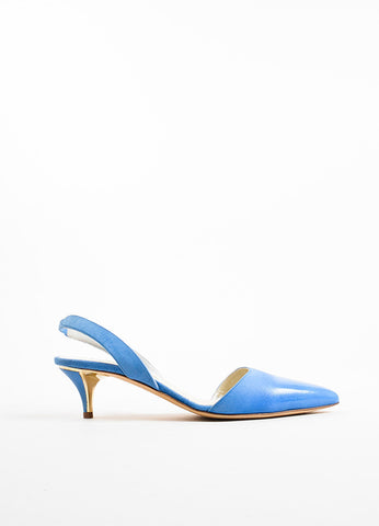 "Oscar de la Renta Blue Coated Suede ""Samie"" Slingback Pumps Sideview"
