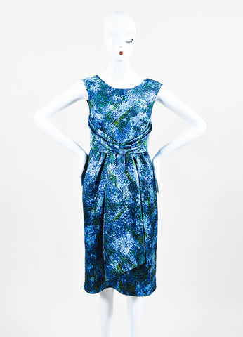 Peter Som Blue and Green Printed Quilted Sleeveless Dress Frontview