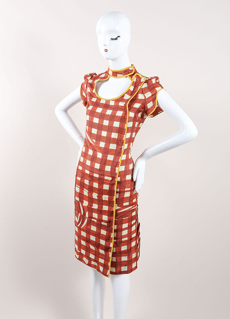 Prada Red, Cream, and Yellow Silk Plaid Patterned Pleated Short Sleeve Dress Sideview