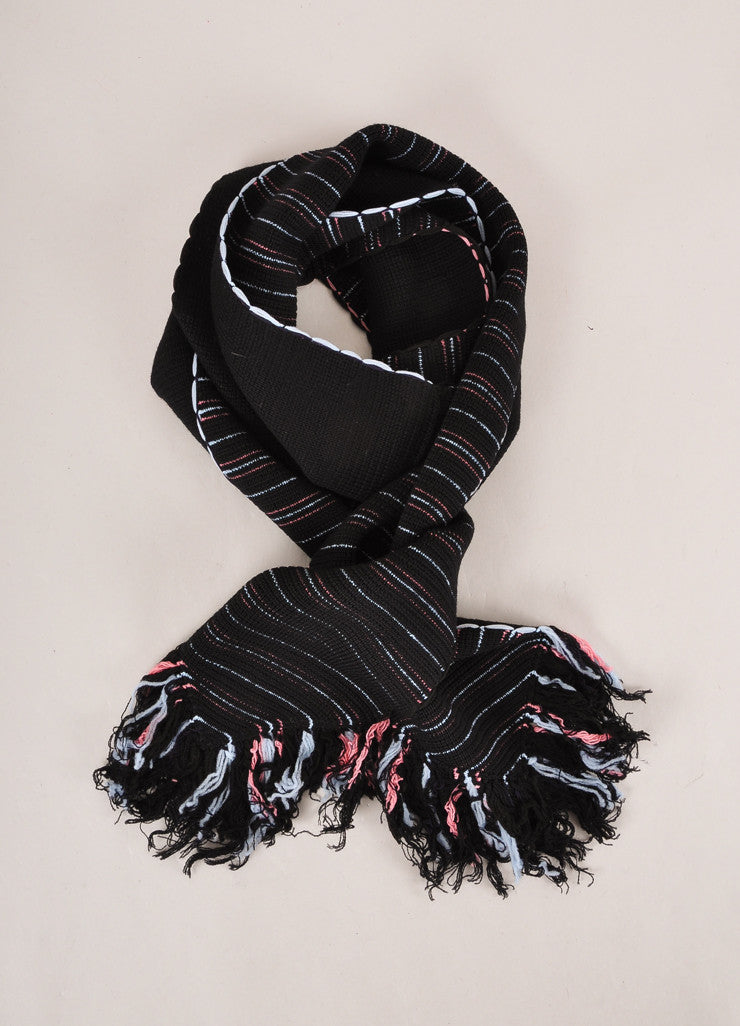 Sonia Rykiel New With Tags Black, Blue, and Pink Stripe Wool Blend Fringe Trim Scarf Frontview