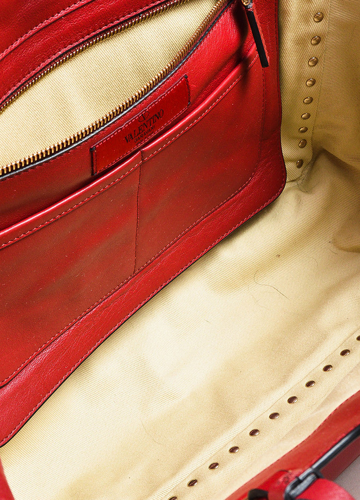 "Valentino Red Calfskin Leather ""Medium Rockstud Tote"" Bag Detail 5"