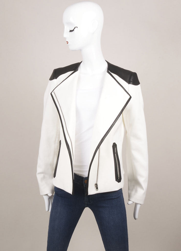 Boss Hugo Boss New With Tags White and Black Contrast Trim Waffle Knit Moto Jacket Frontview