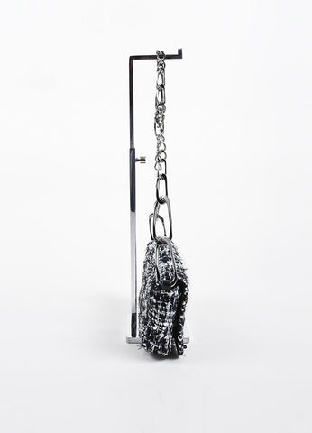 Black, White, and Grey Chanel Tweed 'CC' Logo Chain Strap Shoulder Bag Sideview