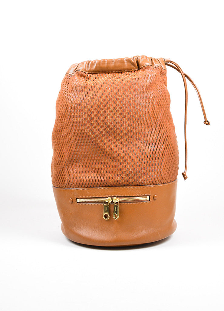 "Brown Chloe Perforated Leather ""Charlie"" Drawstring Sling Bag Frontview"