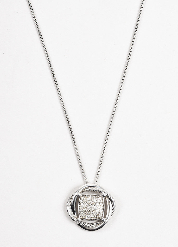 "David Yurman Sterling Silver Diamond ""Infinity"" Pendant Necklace Front"