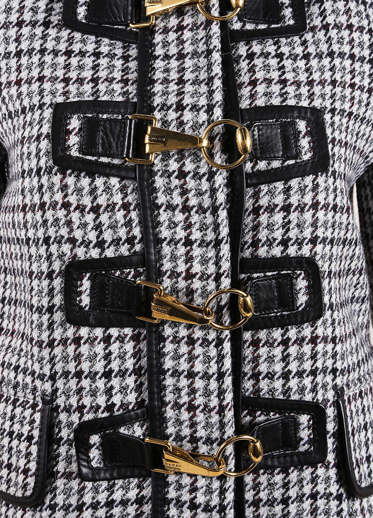 Gucci Black and White Houndstooth Hooded Fireman Coat Detail