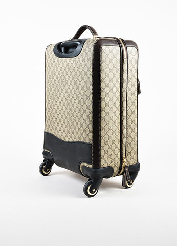 "Gucci Brown and Tan Coated Canvas ""GG Supreme Four Wheel Carry On"" Suitcase Sideview"