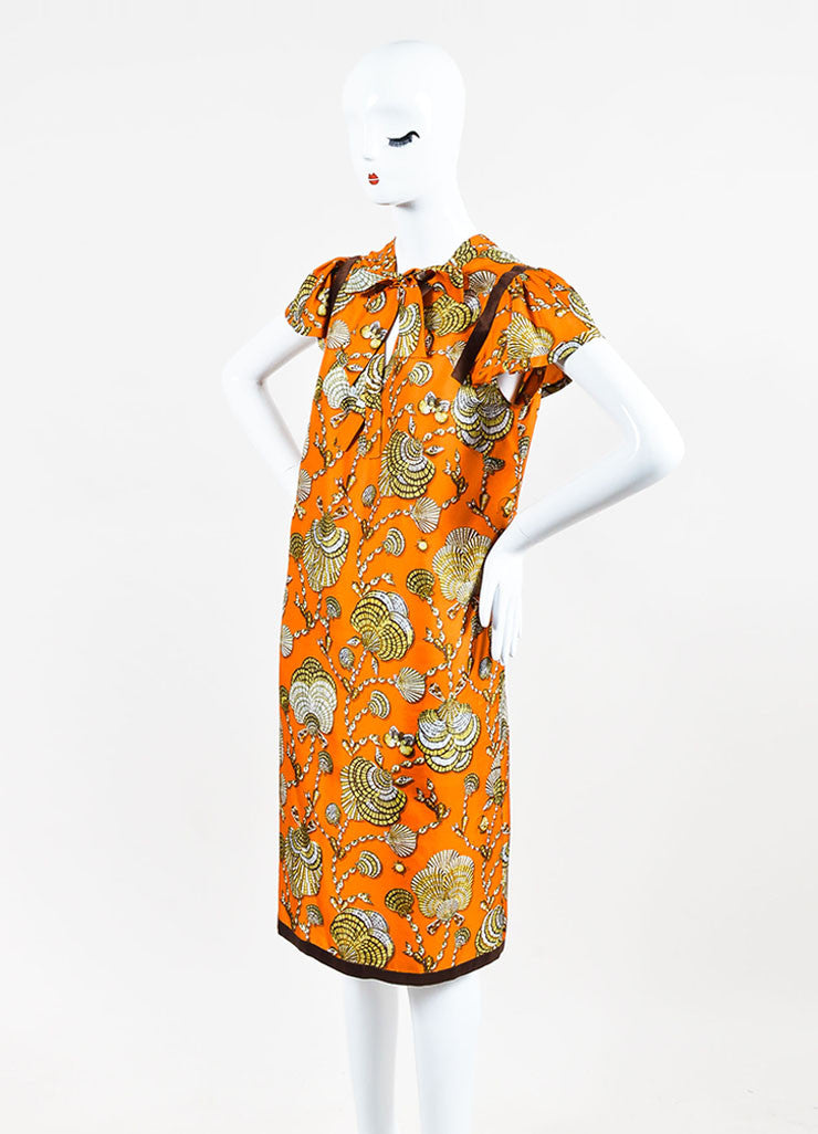 Gucci Orange and Brown Silk Shell Printed Neck Tie Short Sleeve Shift Dress Sideview
