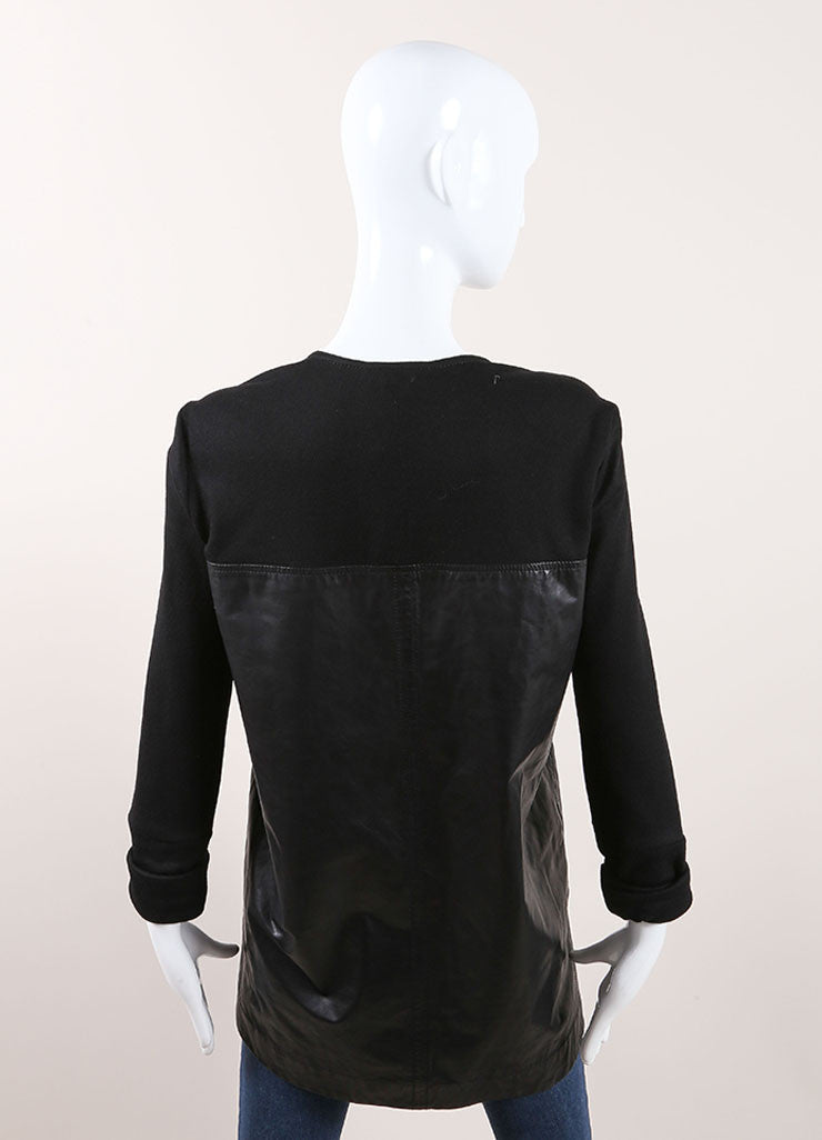 Helmut Lang Black Leather Wool Sleeve V-Neck Top Backview