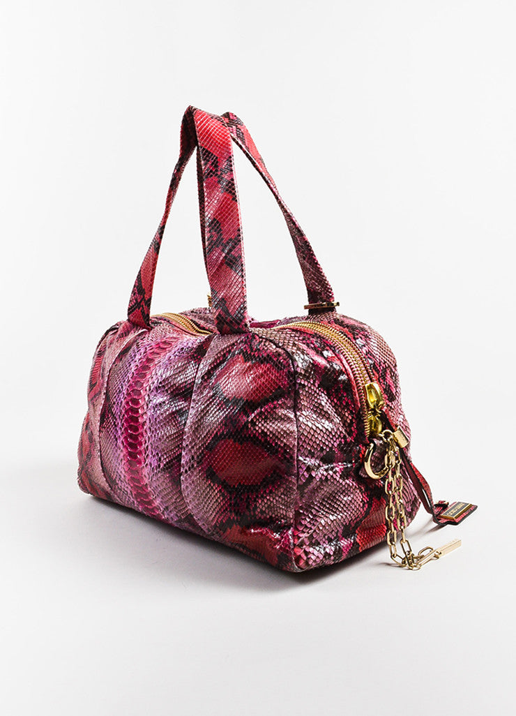 Pink Red Jimmy Choo Python Snakeskin Bowler Bag Purse Back
