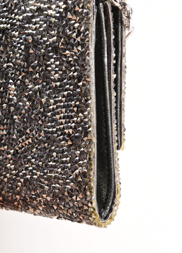 "Judith Leiber Silver Toned Satin and Crystal Encrusted ""Ritz Fizz"" Clutch Bag Detail 4"