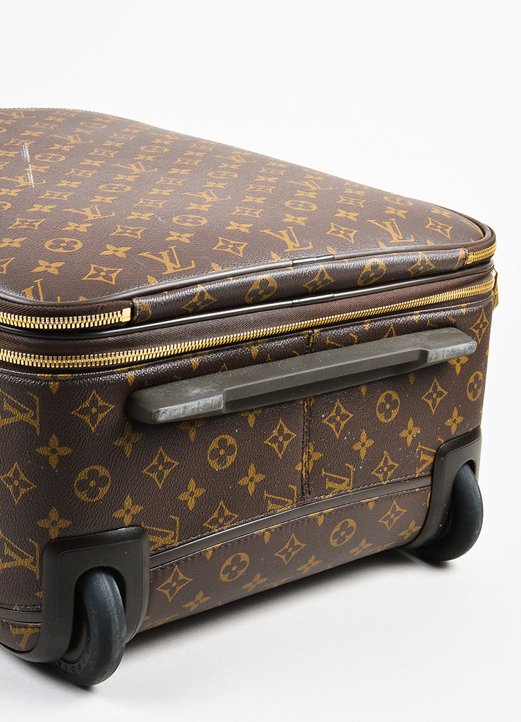 "Louis Vuitton Brown Coated Canvas Monogram ""Pegase Legere 45"" Rolling Suitcase Bottom View"