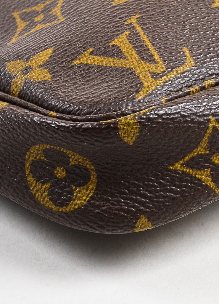"Louis Vuitton Brown and Tan Coated Canvas Monogram ""Pochette Accessoires"" Bag Detail"
