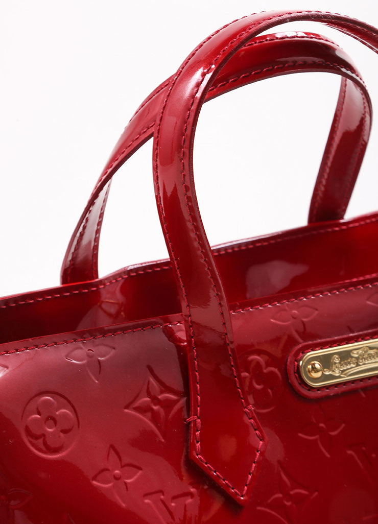 "Louis Vuitton Red Vernis Monogram Patent Leather ""Wilshire PM"" Satchel Handbag Detail 2"