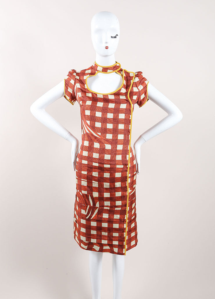 Prada Red, Cream, and Yellow Silk Plaid Patterned Pleated Short Sleeve Dress Frontview