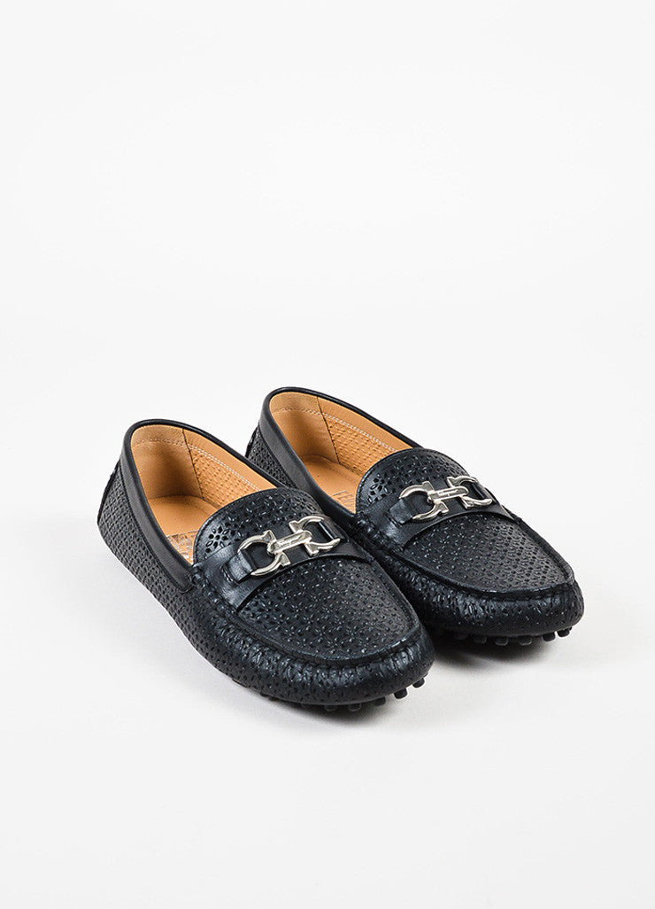 Salvatore Ferragamo Black Leather Perforated Driving Loafers Frontview