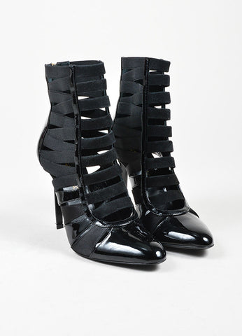 "Black Tamara Mellon Patent Leather, Satin, and Suede Caged ""Corset"" Boots Frontview"